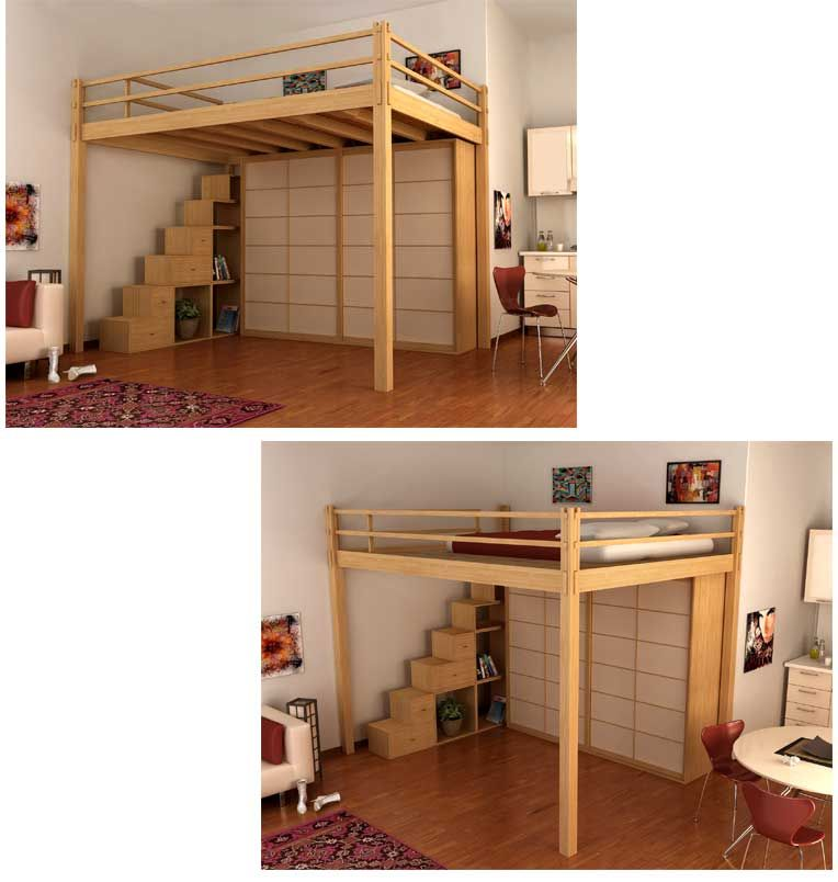 loft bed with container steps