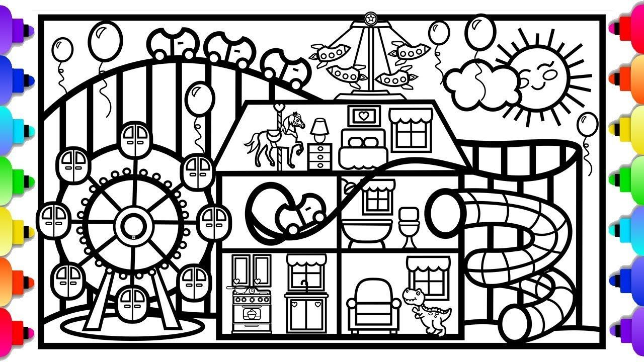Glitter Fun House With Roller Coaster And Ferris Wheel Fun House Disney Coloring Pages Pr In 2021 Disney Coloring Pages Birthday Coloring Pages Printable Coloring Book
