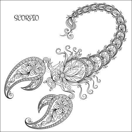 Patrón dibujado mano para colorear zodiac libro Escorpio. — Vector ...