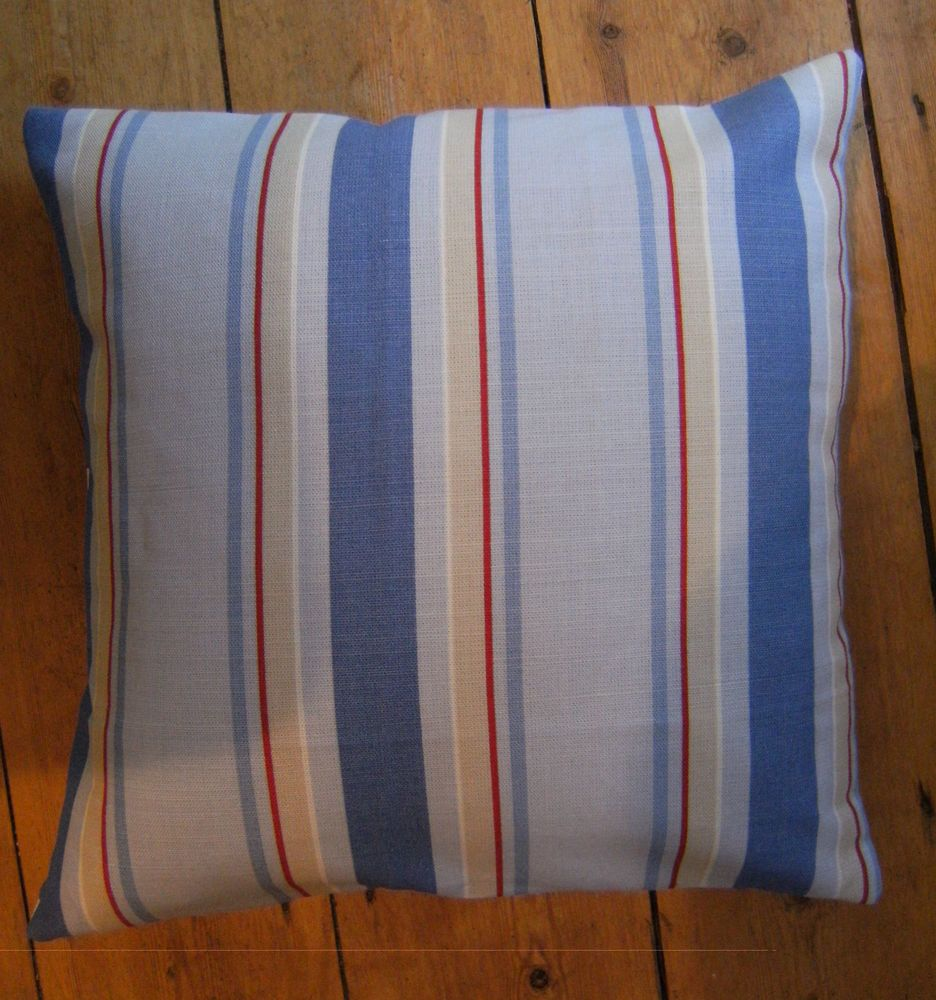 Laura ashley ollie stripe blue nautical fabric design scatter