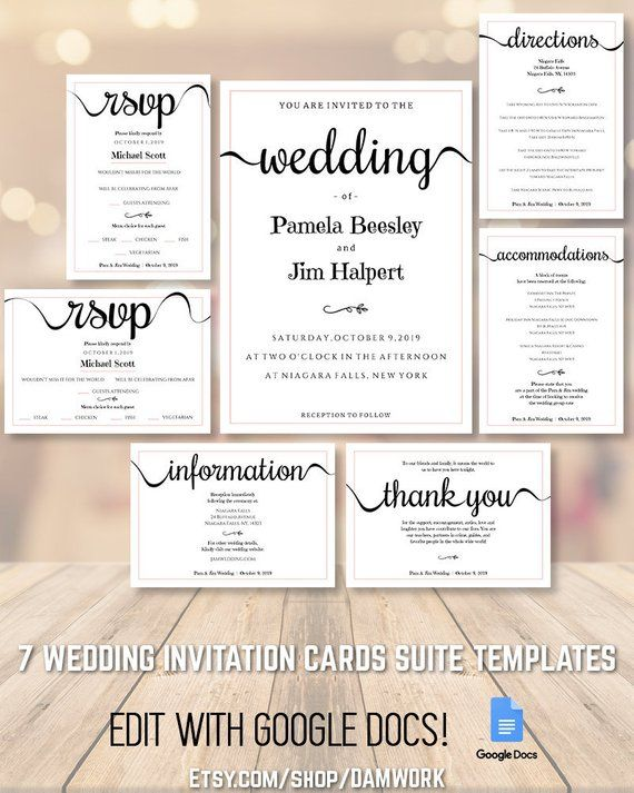 wedding invitation cards template set suite package 5x7 3