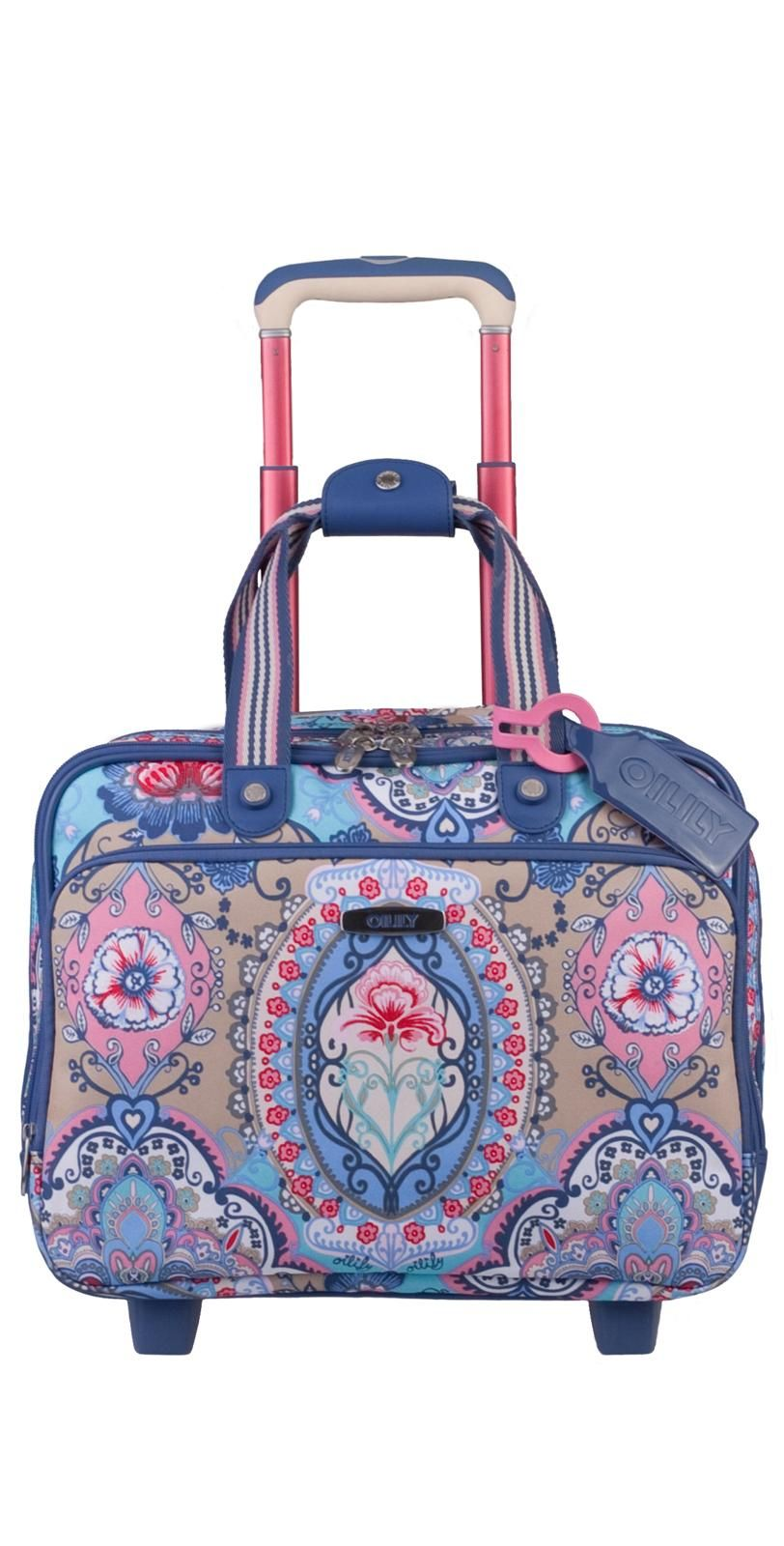 Oilily Travel Lotus Office Bag On Wheels In Blue Main Compartment With Wide Opening For Easy Access Zipper Can Be Secured Lock Not