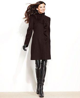 8ea10212a9c2 DKNY Wool-Blend Ruffled Walker Coat