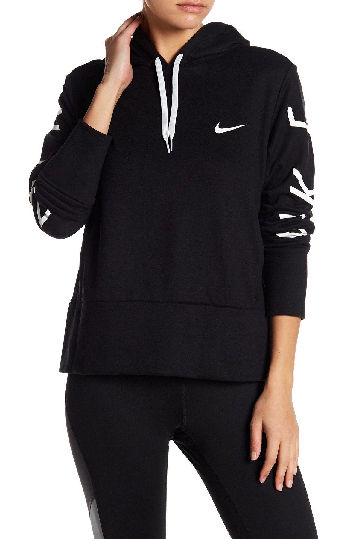 Nike drawstring knit logo drifit hoodie workout