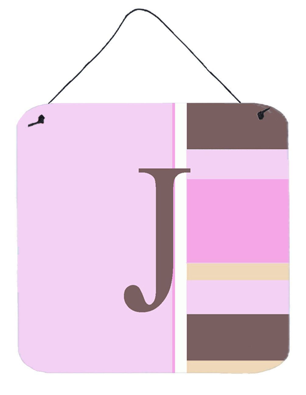 Letter J Initial Monogram - Pink Stripes Wall or Door Hanging Prints ...
