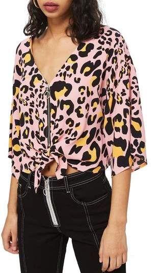 c3105a2f58 Topshop Zoe Animal Print Zip Through Top