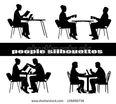 Silhouettes Of People At A Table Silhouette People Silhouette People Png