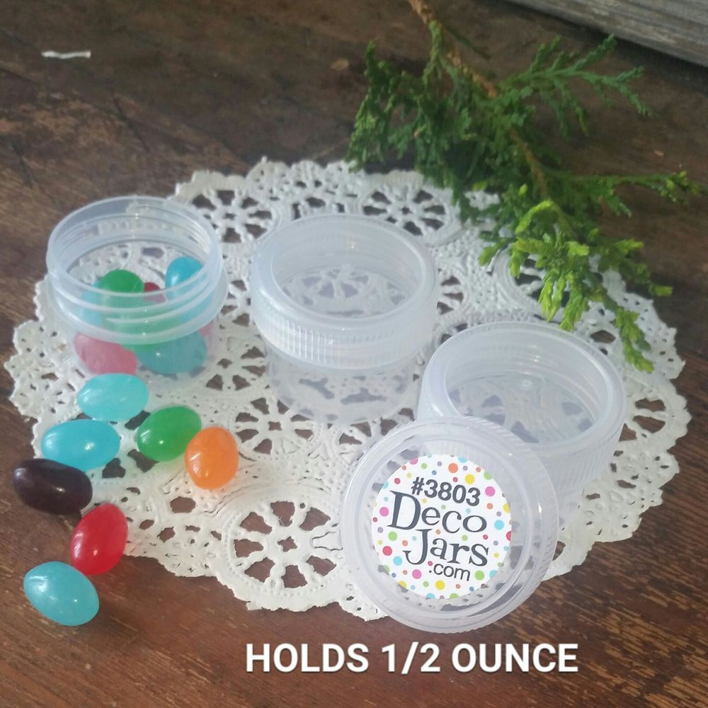 40 Plastic 1/2 ounce Containers See Thru Lids Cap #3803 One-Half Ounce Jars USA…