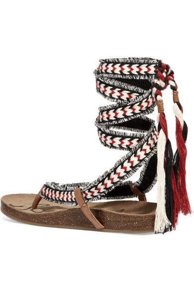 3fb7a4436f90 Sam Edelman - Kelby Tasseled Woven Sandals - Red