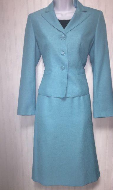 Le Suit Women S Light Blue Business Career Skirt Suit With Blouse