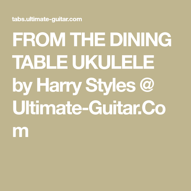 Harry Styles - From The Dining Table (Ukulele)