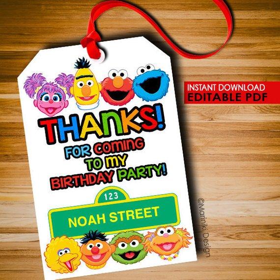 Sesame Street Party Favor Thankyou Tags