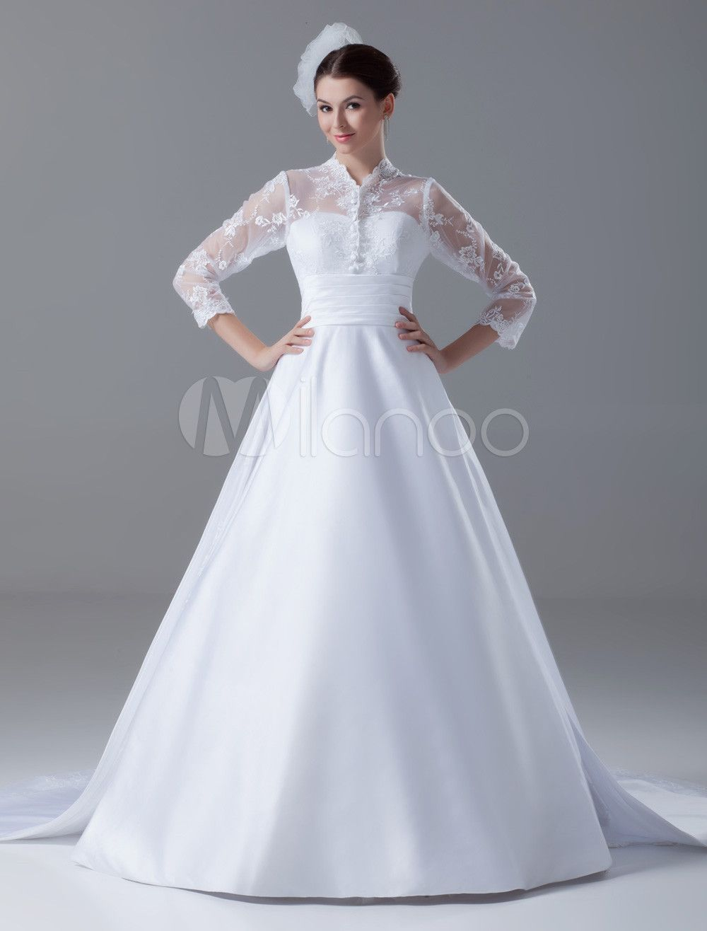 1940s Style Wedding Dresses Shoes Accessories White Ball Gowns Bridal Lace Ball Gown Wedding Dress
