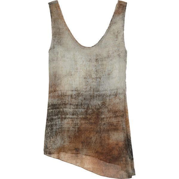 Helmut Lang Printed stretch-silk georgette top ($185) ❤ liked on Polyvore