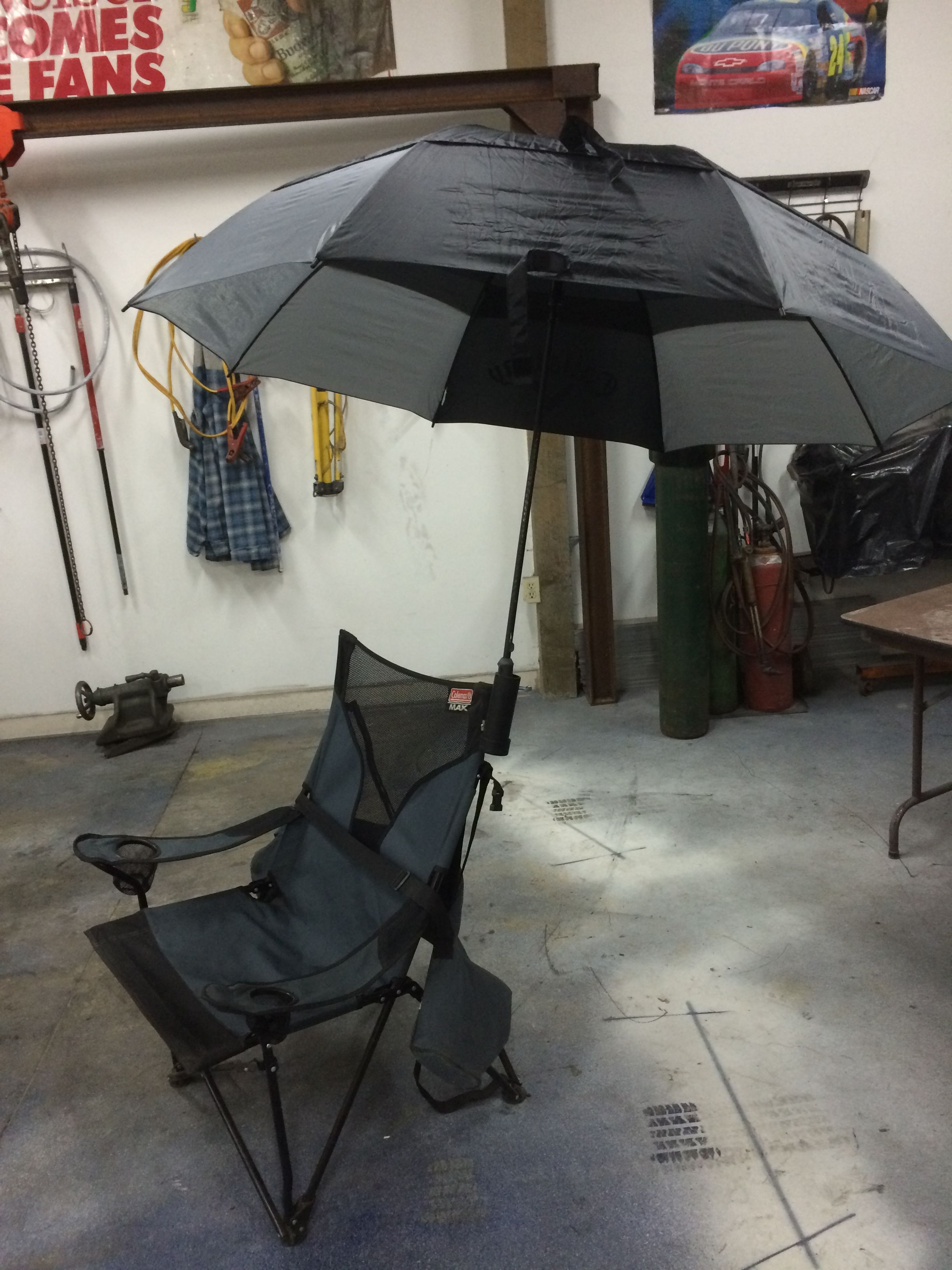 Fishing Chair Clamps Green 2005 Trailer Umbrella Holder To Most Chairs Clamp On