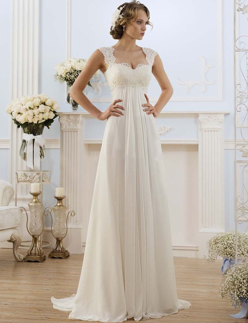 4035a996ca Don s Bridal A Line Bride Dress Sweetheart Neck Sweep Train Chiffon And  Satin Vintage Wedding Dresses