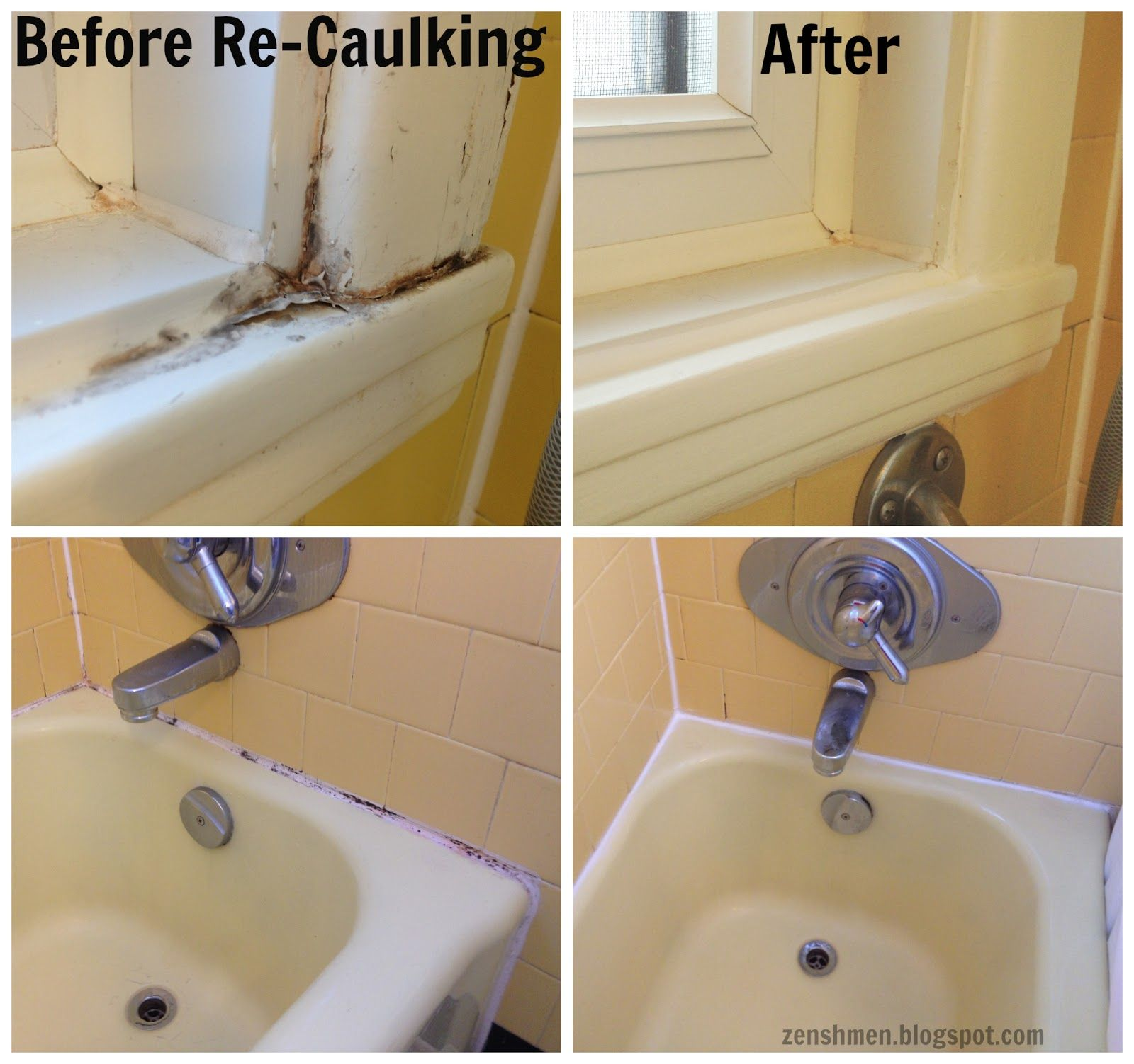 How To Stage An Old Bathroom From Zenshmen Home Staging Diy Re Caulking Yellow Bathroom Decor Yellow Bathrooms Yellow Bathroom Tiles [ 1503 x 1600 Pixel ]