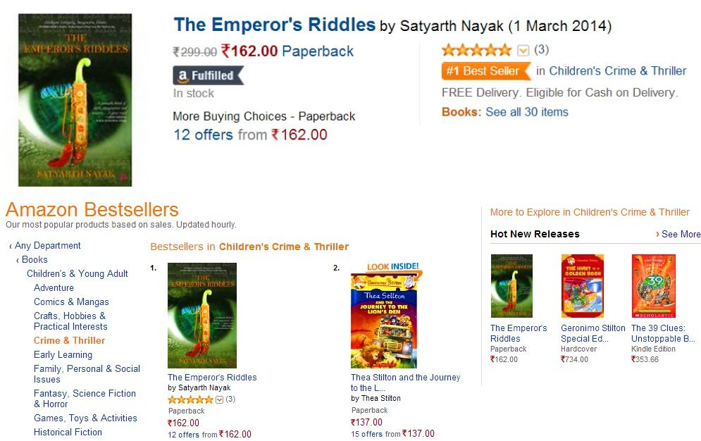 No.1 Bestseller on Amazon Mystery writing, Paperback