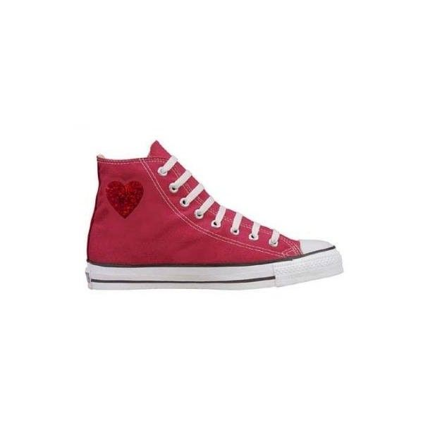 Converse Chuck Taylor All Star Hi Top Custom With Valentine's Day Heart ($50) found on Polyvore