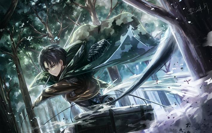 Download Wallpapers Shingeki No Kyojin Levi Ackerman Anime Characters Japanese Manga Protagonist Forest Attack On Titan Levi Attack On Titan Levi Ackerman
