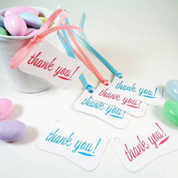 Thank You Favor Tags for Baby Shower Wedding Favors Bridal Party Gifts - Pary Favor Hang Tags Customize Color - Set of 40