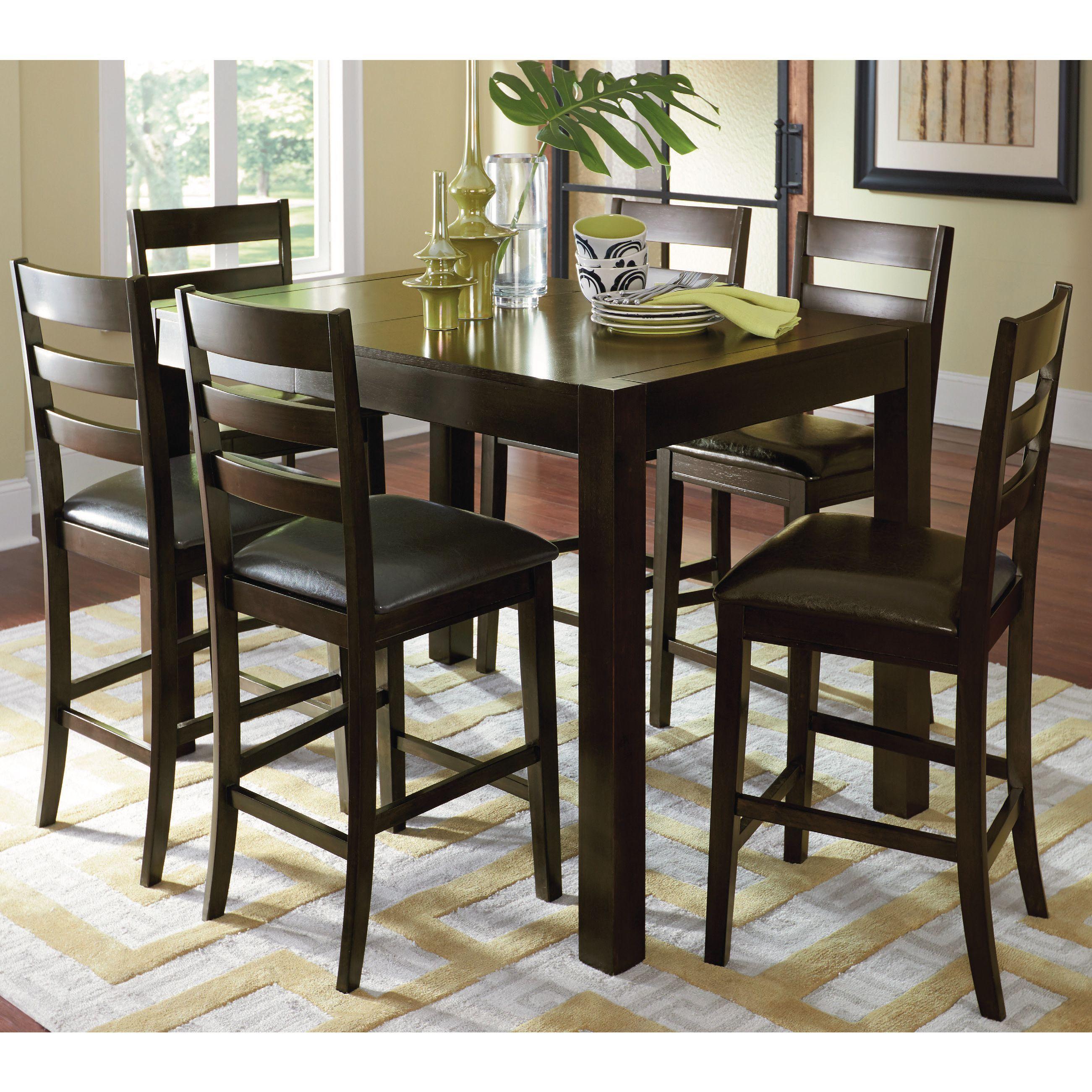 Progressive amini espresso brown veneer rubberwood butterfly counter table counter height