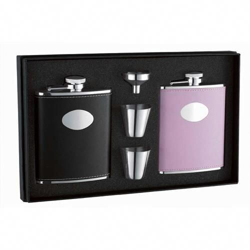 "Visol /""Roxanne/"" Leather Flask Gift Set 6-Ounce Black"