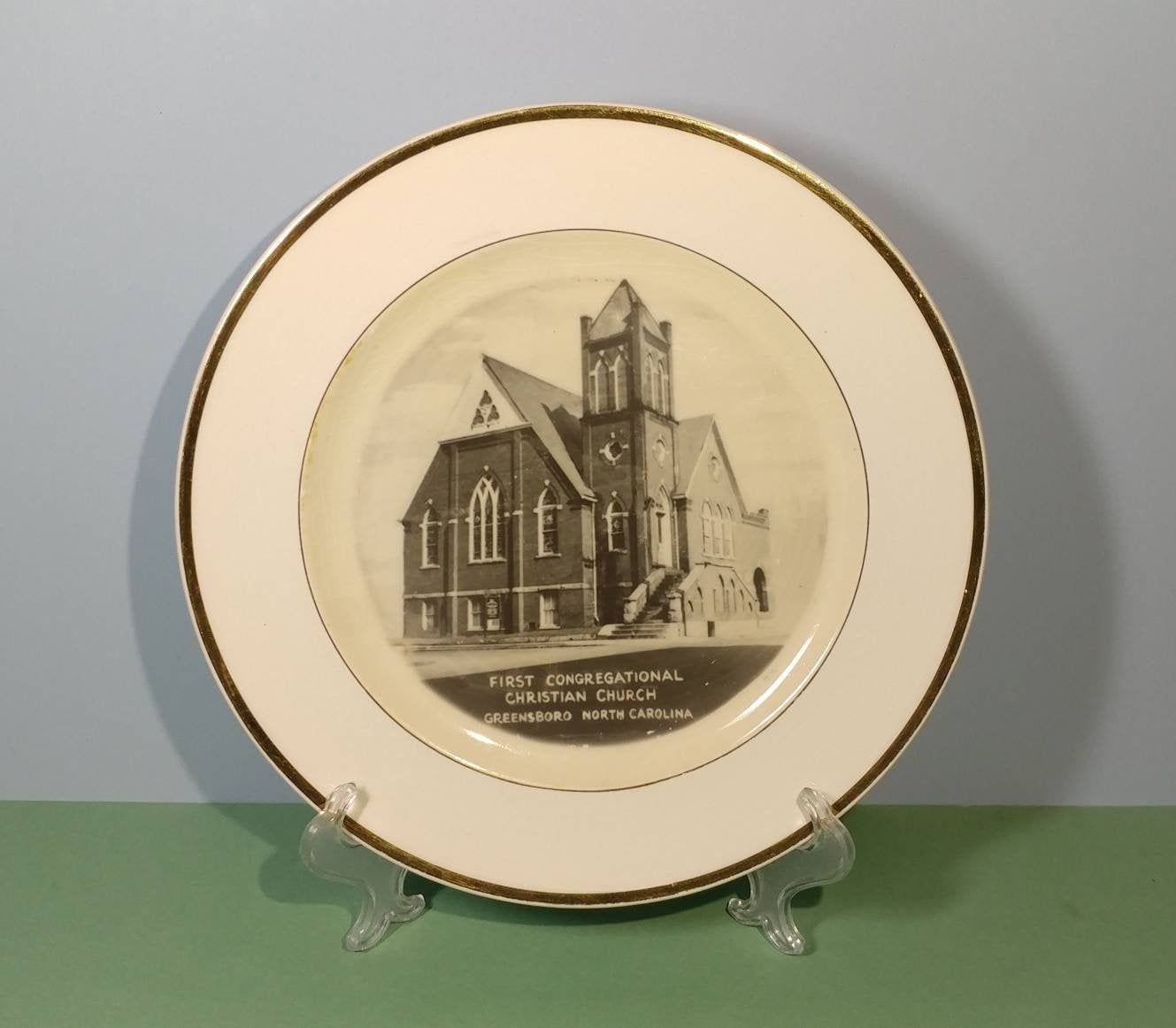 10 1/4 China Souvenir Plate of First Congregational Christian Church Greensboro North Carolina by Steubenville Pottery Commemorative Dish #churchitems