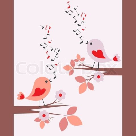 group of cartoon birds singing | Stock vector of 'Cute birds singing'
