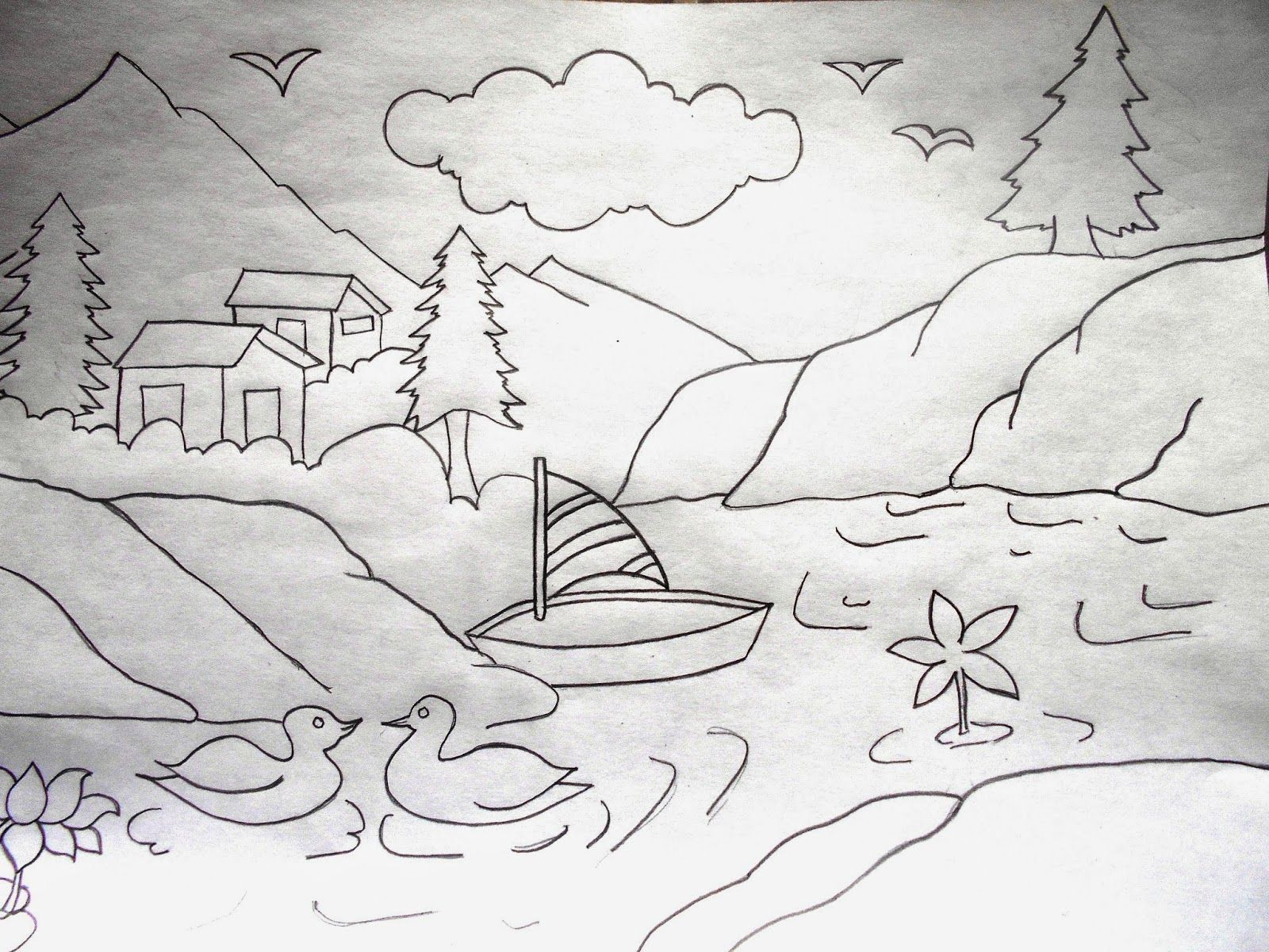 Line Drawing Step By Step : Pencil drawing of natural scenery g  ideas