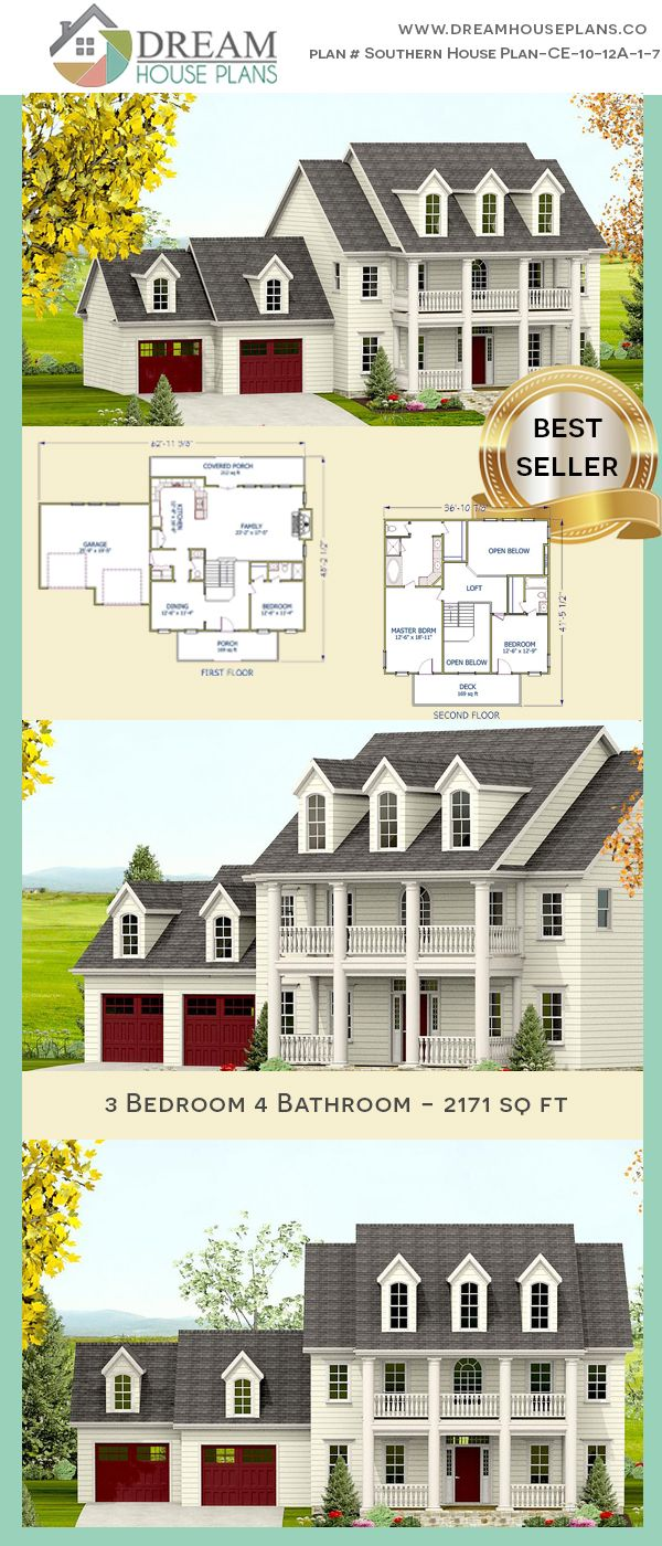 3 Bedroom 4 Bathroom 2171sq Ft Southern House Plan Ce