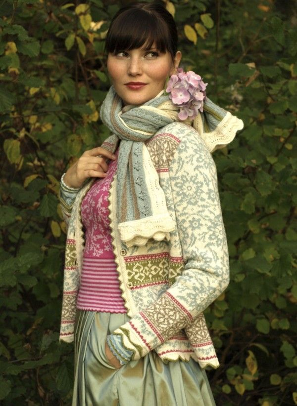 Oleana medium-length cardigan in 100 percent alpaca, design 70 — the whole outfit is beautiful — matching shell, shawl, wrist warmers and silk skirt