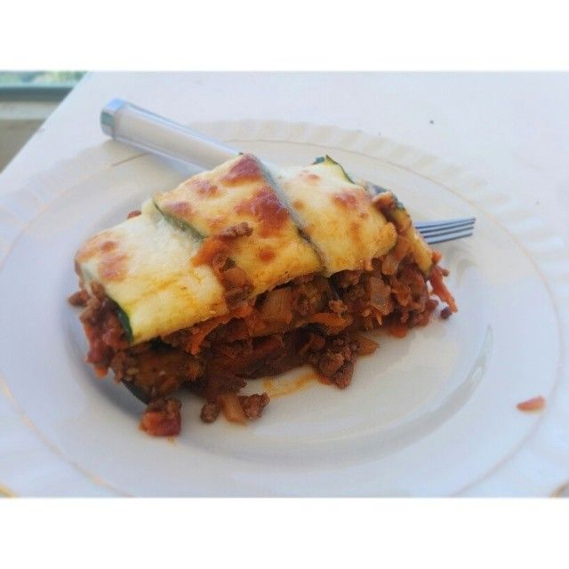 Healthier lasagna!  Simply switch the pasta sheet for sweet potato, eggplant and zucchini and top with a little mozzarella!