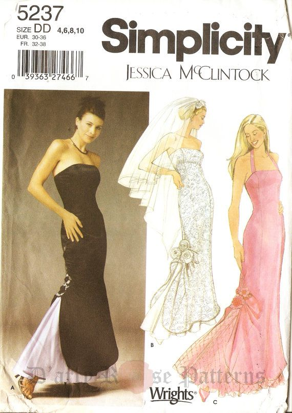 Simplicity 5237 Jessica McClintock Designer Evening and Bridal Gown ...