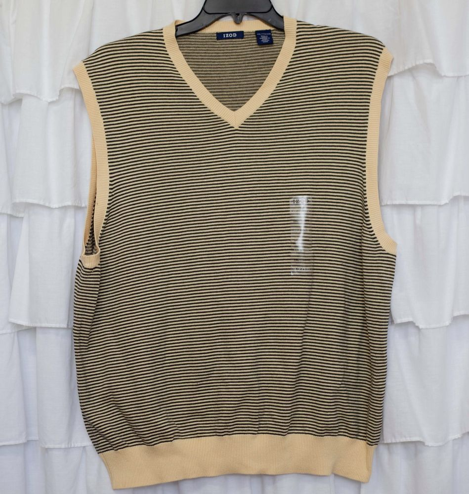 IZOD XXL MEN'S V-NECK SLEEVELESS GOLF SWEATER VEST COTTON KNIT ...