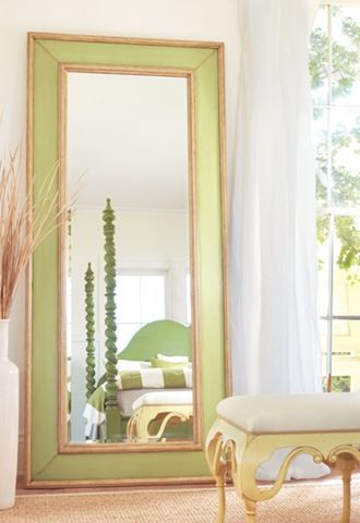 Love this mirror! Painted green with gold border