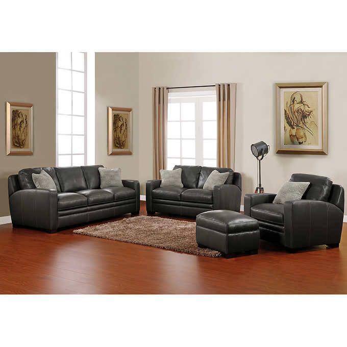 Elan 4 Piece Top Grain Leather Living Room Set Leather Living