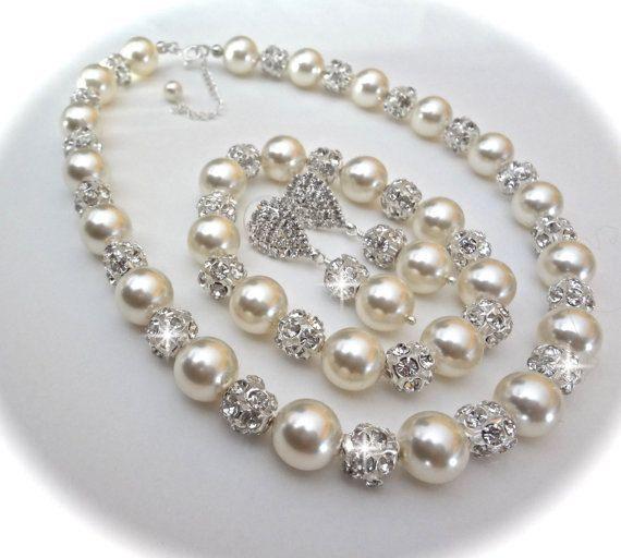 Brides pearl jewelry set Swarovski pearls by QueenMeJewelryLLC