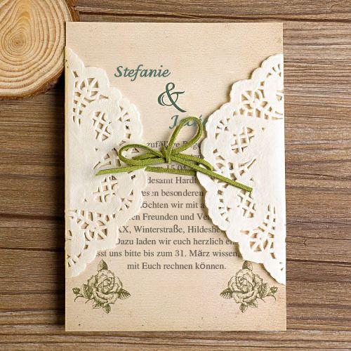 rustikal spitze tasche gruen einladungskarten hochzeit kpl002 wedding inspiration wedding. Black Bedroom Furniture Sets. Home Design Ideas