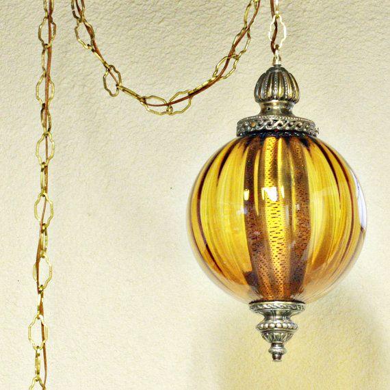 Vintage hanging light - swag lamp - hanging lamp - amber globe