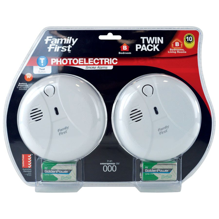 The Family First Photoelectric Smoke Alarm Twin Pack are