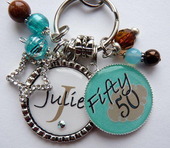Personalized 50th Birthday Gift Name Sister Aunt Daughter Nana Grandma Friend Milestone Aquamarine Keychain