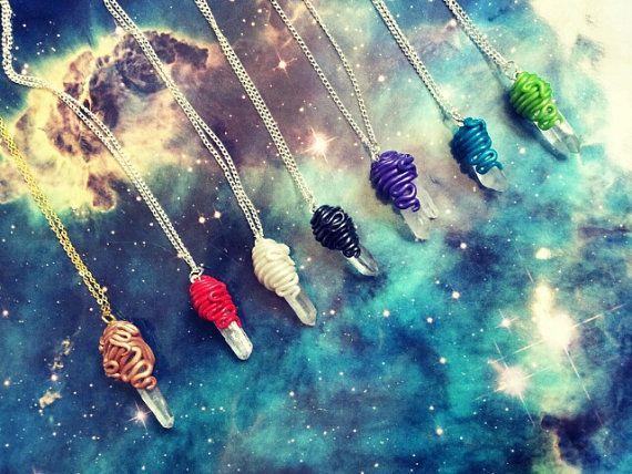 Quartz crystal tentacle wrap necklace