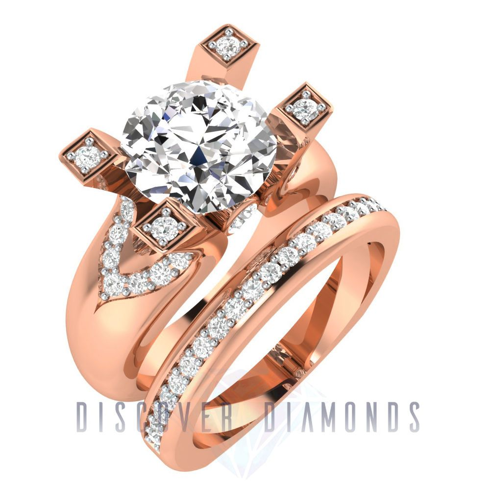 Certified 2.25Ct Round Diamond 14k Solid Rose Gold Solitaire Engagement Ring Set