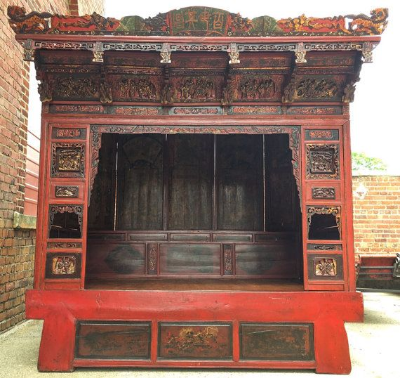 Antique 19th-C. Opium Chinese Canopy Bed : chinese canopy bed - memphite.com