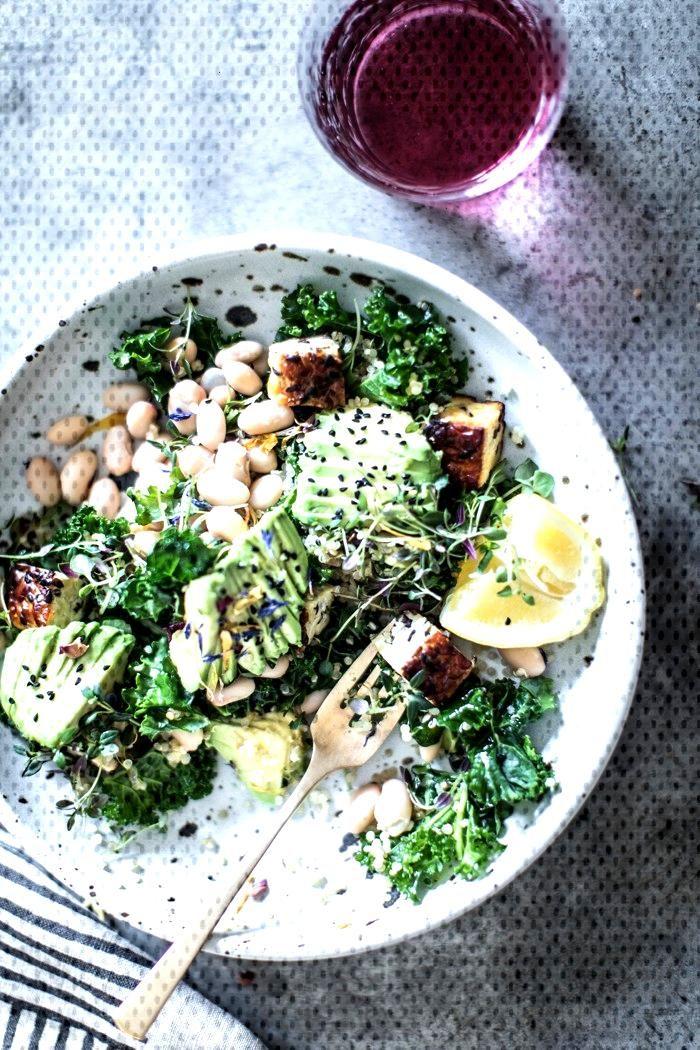 Lemony Kale, White Bean, amp Avocado Detox Salad wit /