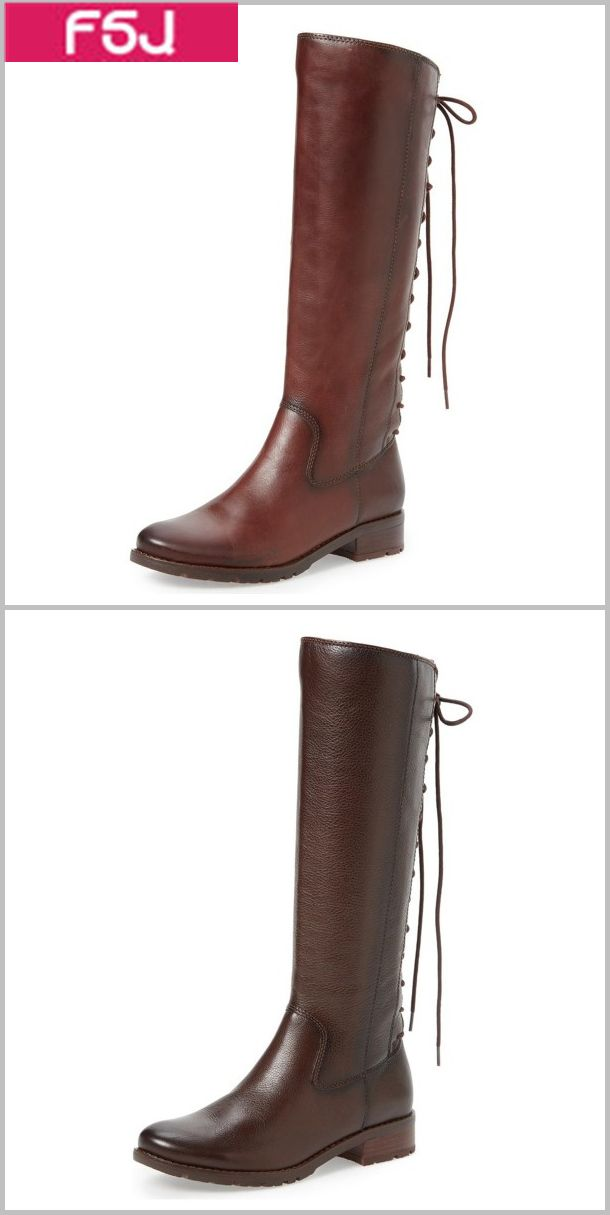 bf14a08e34c Brown Riding Boots Round Toe Back Lace up Vintage Knee Boots ...