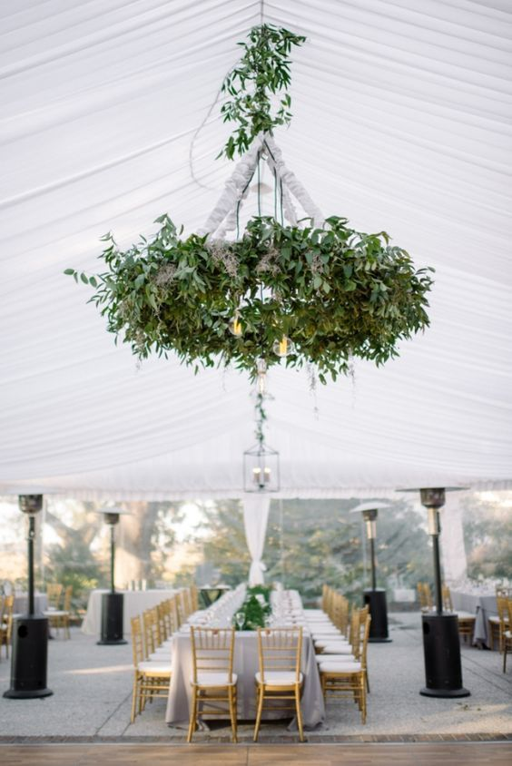 14 greenery wedding chandeliers whimsical to elegant wedding greenery chandelier hang with some light bulbs mozeypictures Image collections