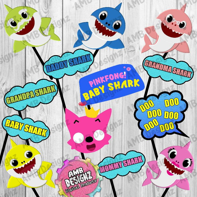 Baby Shark Photo Booth Props Baby Shark Party Decorations Photo Booth Props Birthday Shark Birthday Party Shark Party Decorations