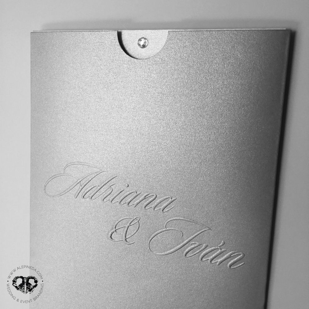 Diamond wedding invitation. Pocket sleeve envelope. Modern, contempo ...